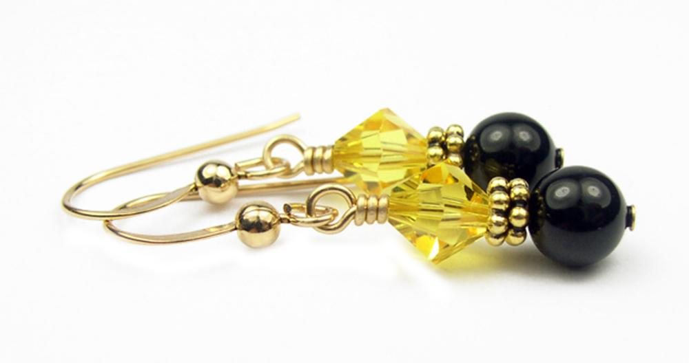 Gold Black Pearl and Crystal Earrings November Citrine Swarovski Crystal Elements