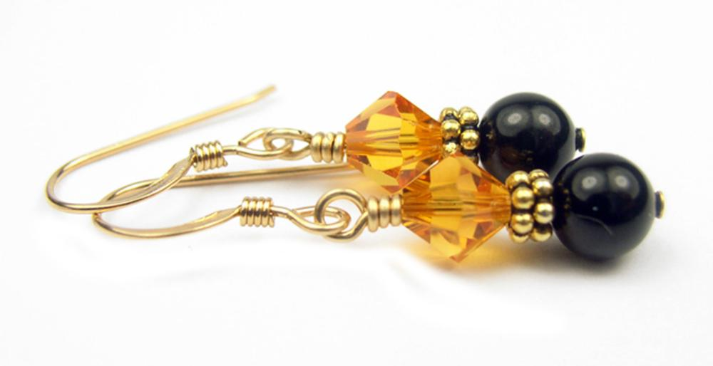 Gold Black Pearl and Crystal Earrings November Topaz Swarovski Crystal Elements