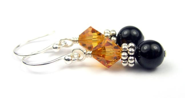 Silver Black Pearl and Crystal Earrings November Topaz Swarovski Crystal Elements