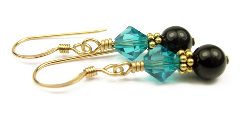 Gold Black Pearl and Crystal Earrings December Blue Zircon Swarovski Crystal Elements