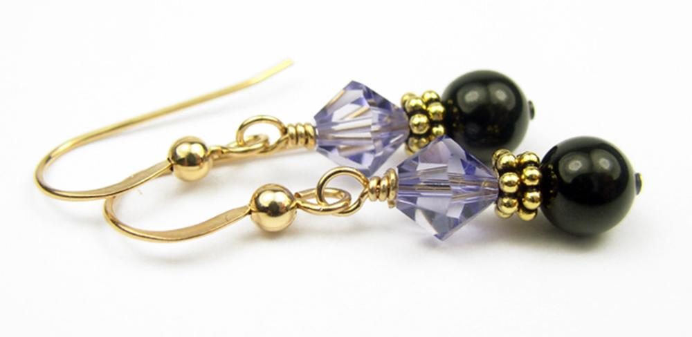 Gold Black Pearl and Crystal Earrings December Tanzanite Swarovski Crystal Elements