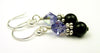 Silver Black Pearl and Crystal Earrings December Tanzanite Swarovski Crystal Elements
