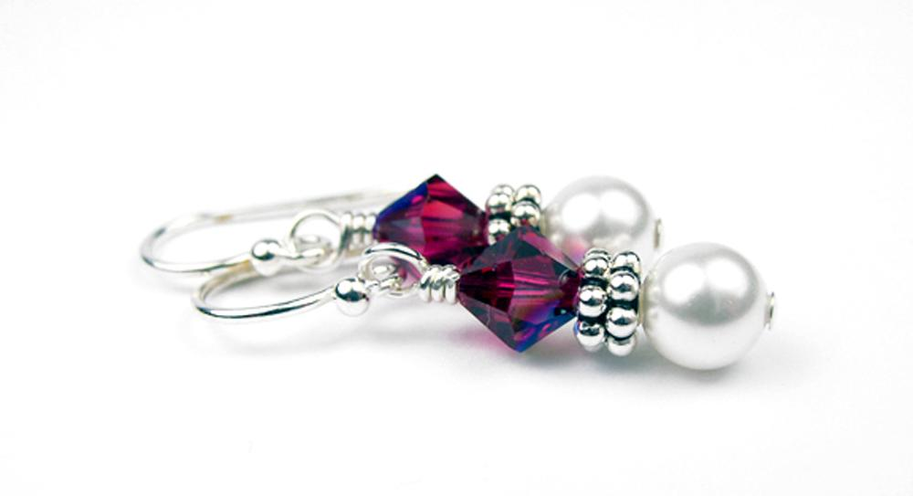 Freshwater Real Pearl Drop Earrings July Ruby Swarovski Crystals