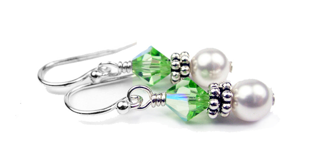 Sterling Peridot Earrings, August Birthstone Earrings, Freshwater Pearl Beaded Earrings, Green Swarovski Crystals