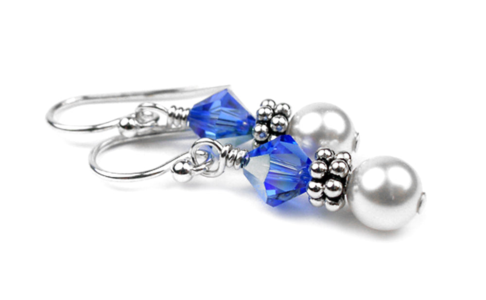 Sterling Sapphire Earrings, September Birthstone Earrings, Freshwater Pearl Beaded Earrings, Blue Swarovski Crystals