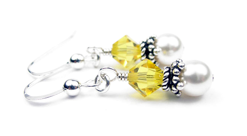Sterling Citrine Earrings, November Birthstone Earrings, Freshwater Pearl Beaded Earrings, Yellow Swarovski Crystals