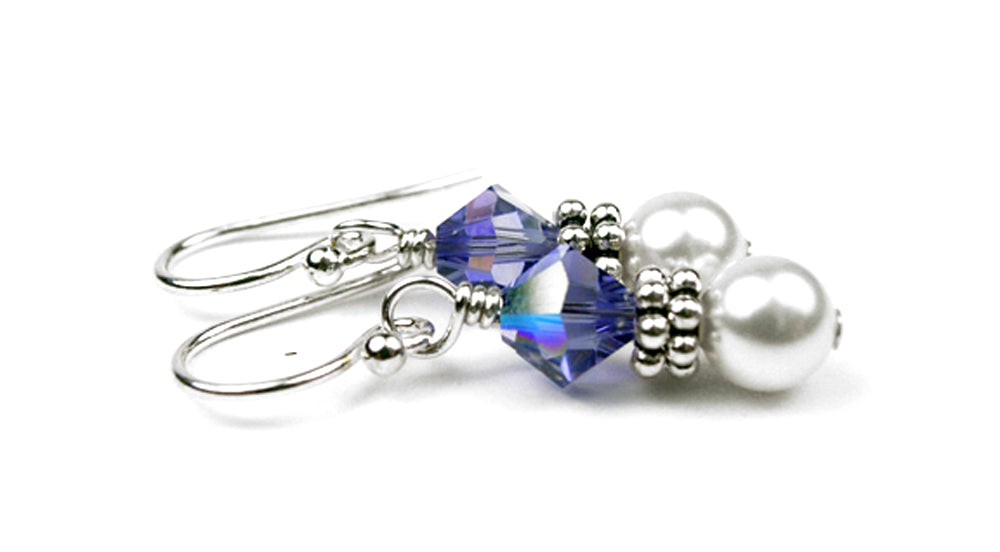 Sterling Tanzanite Earrings, December Birthstone Earrings, Freshwater Pearl Beaded Earrings, Purple Swarovski Crystals