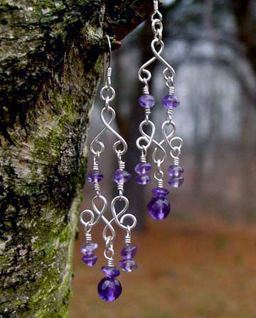 Silver Chandelier Earrings | Amethyst Purple Chandelier Earrings