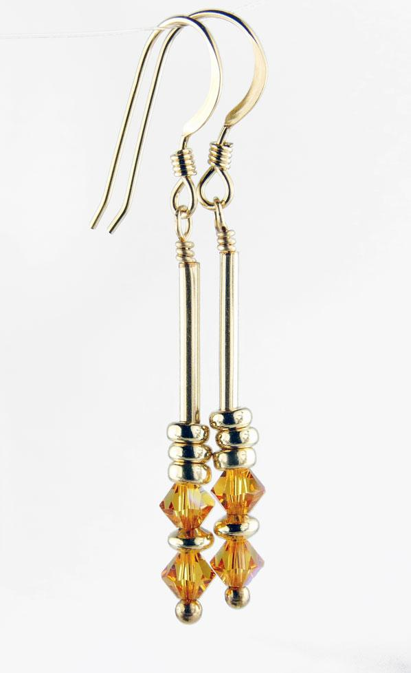 Minimalist Gold Dangle Earrings November Topaz Swarovski Crystal Elements