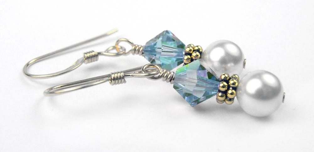 Gold Freshwater Real Pearl Drop Earrings Crystal Beaded March Aquamarine