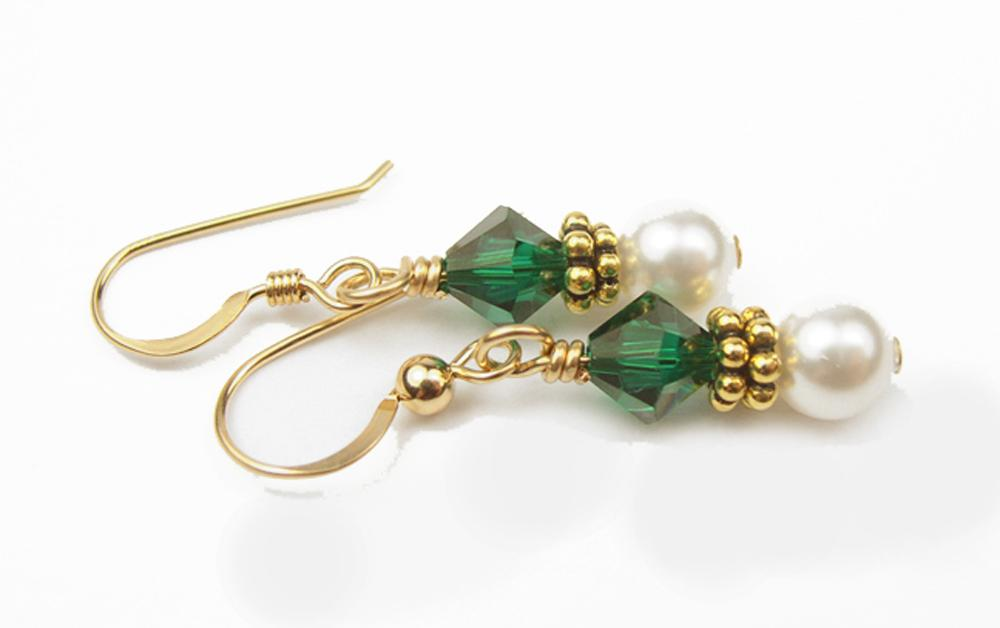 Gold Freshwater Real Pearl Drop Earrings Crystal Beaded May Emerald