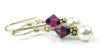 Gold Freshwater Real Pearl Drop Earrings Crystal Beaded July Ruby