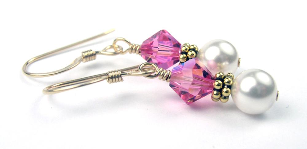 Gold Freshwater Real Pearl Drop Earrings Crystal Beaded October Rose (Pink Tourmaline)