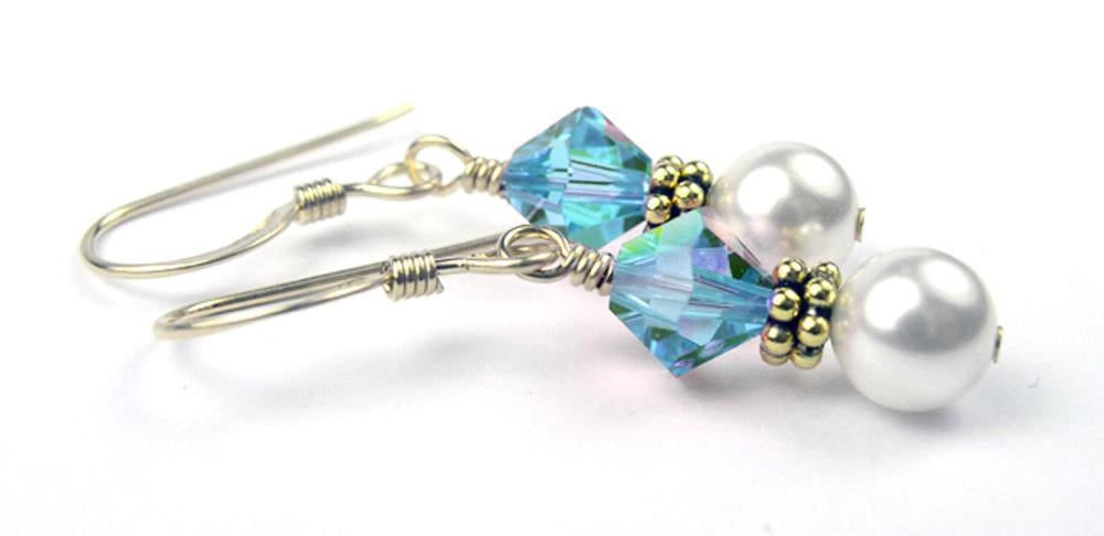 Gold Freshwater Real Pearl Drop Earrings Crystal Beaded December Blue Zircon