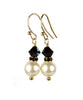 Pearls Earrings: Gold 8MM Freshwater Pearl January Garnet Swarovski Crystal Earrings
