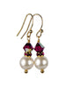Pearls Earrings: Gold 8mm Freshwater Pearl July Ruby Swarovski Crystal Earrings