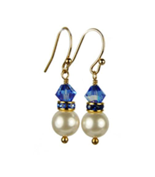 Pearls Earrings: Gold 8mm Freshwater Pearl September Sapphire Swarovski Crystal Earrings