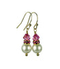 Pearls Earrings: Gold 8mm Freshwater Pearl October Rose (Pink Tourmaline) Swarovski Crystal Earrings