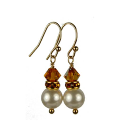 Pearls Earrings: Gold 8mm Freshwater Pearl November Golden Topaz Swarovski Crystal Earrings