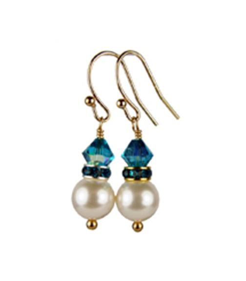 Pearls Earrings: Gold 8mm Freshwater Pearl December Blue Zircon Swarovski Crystal Earrings