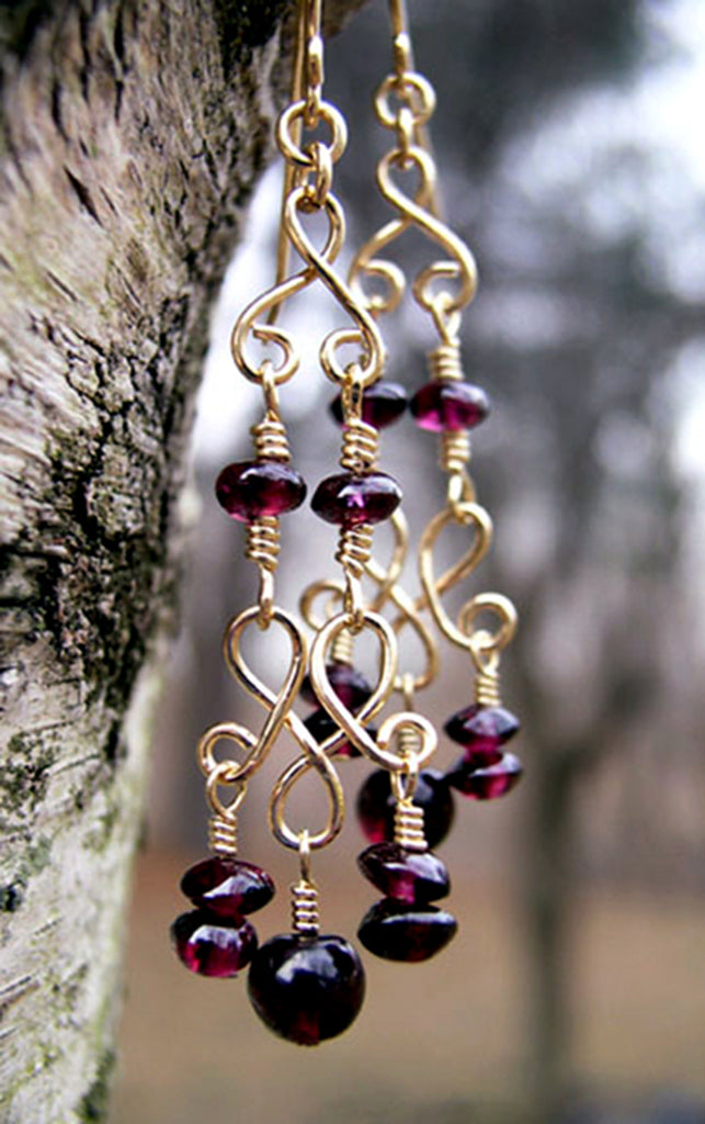 Gold Chandelier Earrings | Garnet Red Chandelier Earrings  - DAMALI by GemstoneGifts Handmade Jewelry