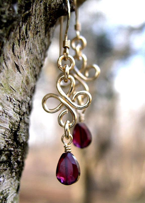 Gold Chandelier Earrings Garnet Red Chandelier Earrings DAMALI