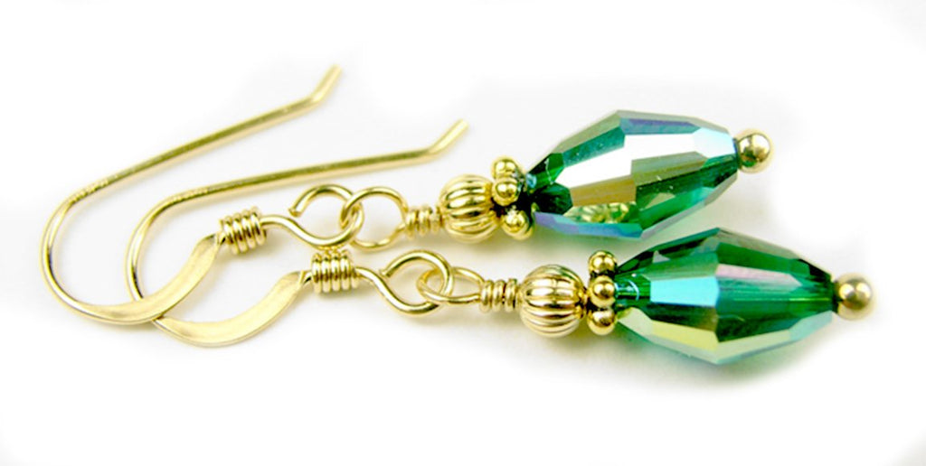Dainty Gold Handmade Green Crystal Drop Earrings - Emerald May Birthstone