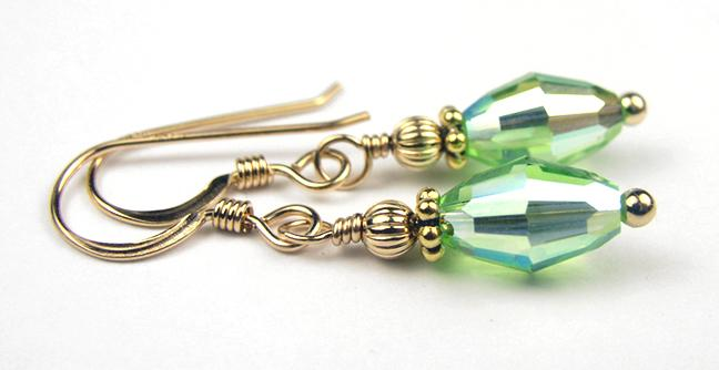 Dainty Gold Handmade Green Crystal Drop Earrings - Peridot August Birthstone