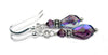 Silver Dangle Earrings February Birthstone Amethyst Swarovski Crystal