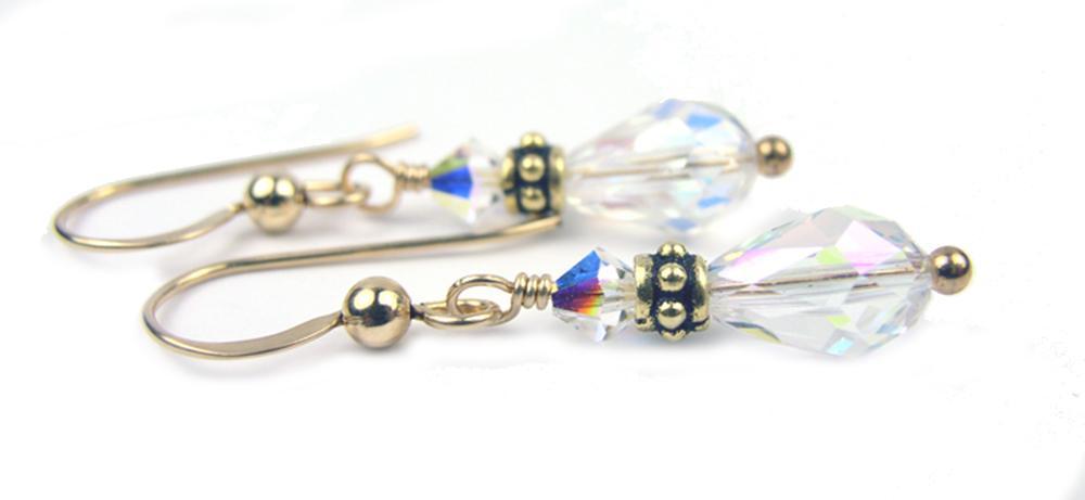 Gold Crystal Teardrop Earrings Birthstone: April Crystal Swarovski Crystal