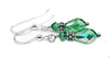 Silver Dangle Earrings May Birthstone Emerald Swarovski Crystal