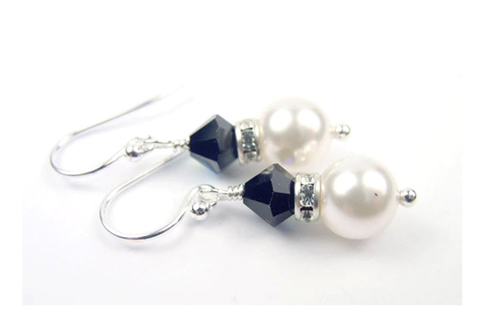 Pearls Earrings: Silver 8MM Freshwater Pearl January Garnet Swarovski Crystal Earrings