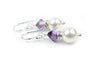 Pearls Earrings: Silver 8mm Freshwater Pearl February Amethyst Swarovski Crystal Earrings