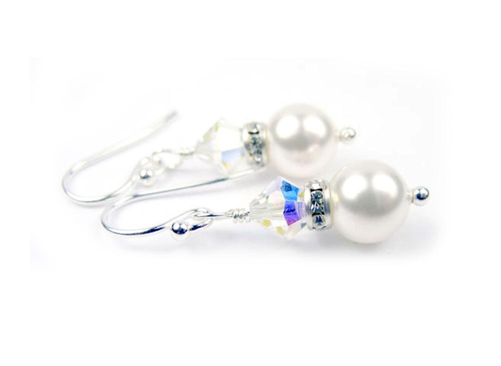 Pearls Earrings: Silver 8mm Freshwater Pearl April Crystal Swarovski Crystal Earrings