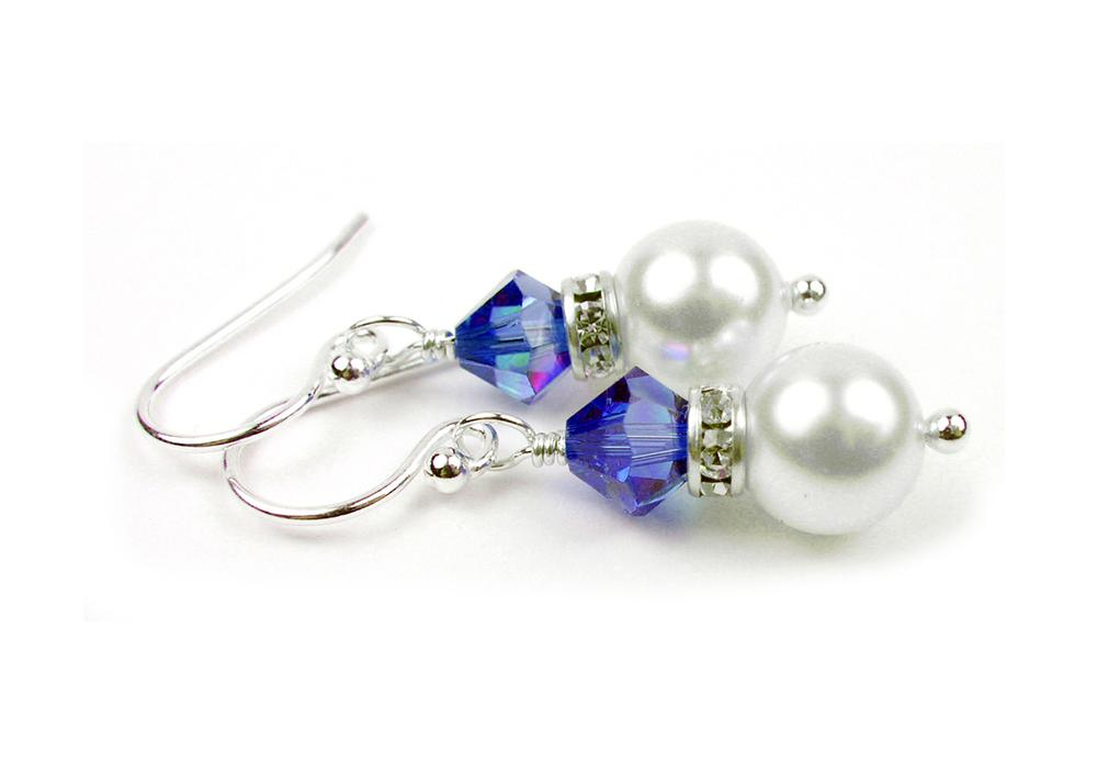single stud pearl pearls hanging clasp earrings