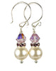 14K Akoya Pearl & Amethyst Earrings, 14K Gold 8MM Birthstone February Swarovski Crystal Elements