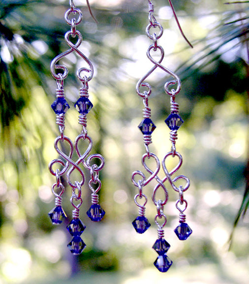 Silver Chandelier Earrings | Sapphire Blue Chandelier Earrings Silver Chandelier Earrings - DAMALI by GemstoneGifts Handmade Jewelry