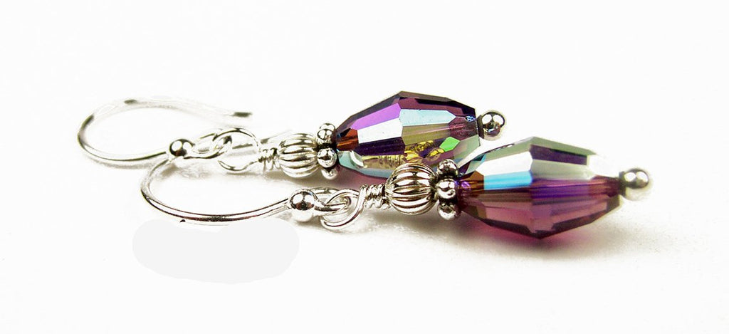 Dainty Silver Handmade Purple Crystal Drop Earrings - Amethyst February Birthstone