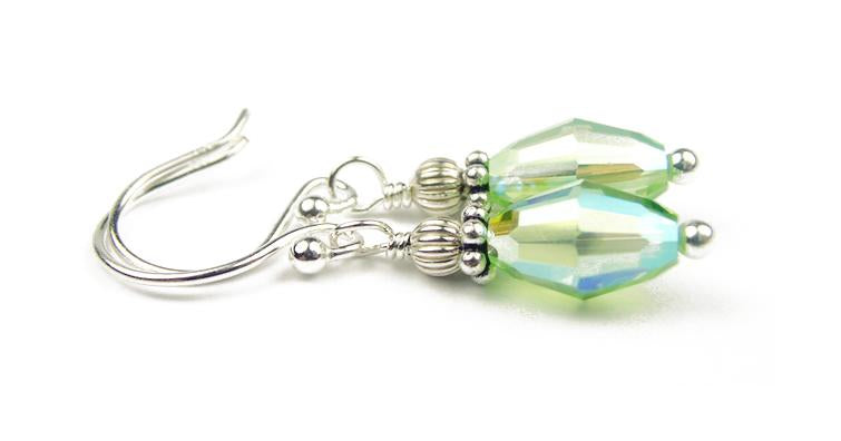 Dainty Silver Handmade Green Crystal Drop Earrings - Peridot August Birthstone