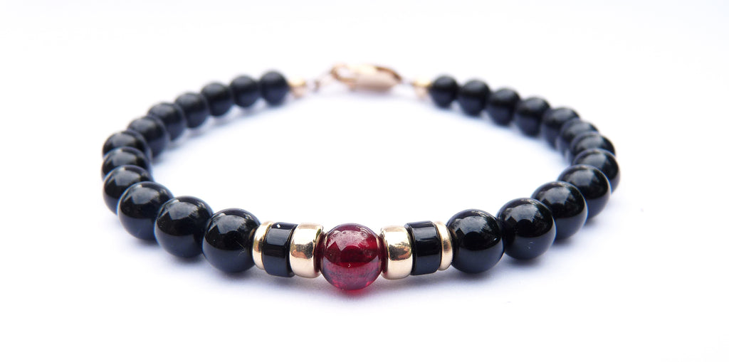 Gold Mens Garnet & Onyx Birthstone Bracelet,  14K GF January Gemstone Beaded Bracelet, Jewels for Gents