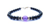 Gold Mens Amethyst 6MM Onyx Birthstone Bracelet, 14K GF February Gemstone Beaded Bracelet, Jewels for Gents