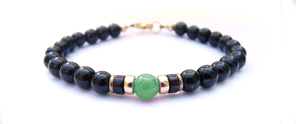 Gold Mens Emerald Birthstone Bracelet, 14K GF May 6MM Gemstone Beaded Bracelet, Jewels for Gents