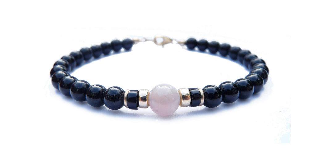 Gold Mens Moonstone Birthstone Bracelet, 14K GF June Gemstone Beaded Bracelet, Jewels for Gents