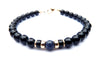 Gold Mens Sapphire Birthstone Bracelet, 14K GF September Gemstone Beaded Bracelet, Jewels for Gents