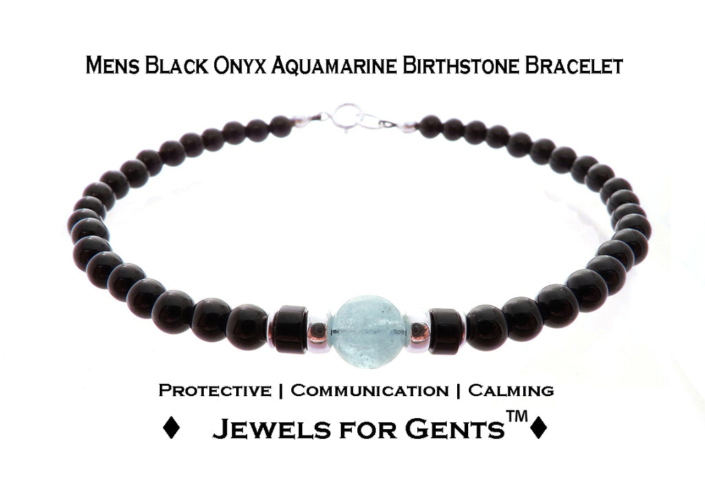 Mens Aquamarine Bracelet, Black Onyx March Birthstone Bracelet | Mens Zodiac Power Stones Bracelet | Jewels for Gents  - DAMALI by GemstoneGifts Handmade Jewelry