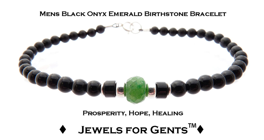Mens Emerald Bracelet, Black Onyx May Birthstone Bracelet | Mens Zodiac Power Stones Bracelet | Jewels for Gents  - DAMALI by GemstoneGifts Handmade Jewelry