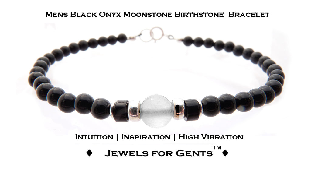 Mens Moonstone Bracelet, Black Onyx June Birthstone Bracelet | Mens Zodiac Power Stones Bracelet | Jewels for Gents  - DAMALI by GemstoneGifts Handmade Jewelry