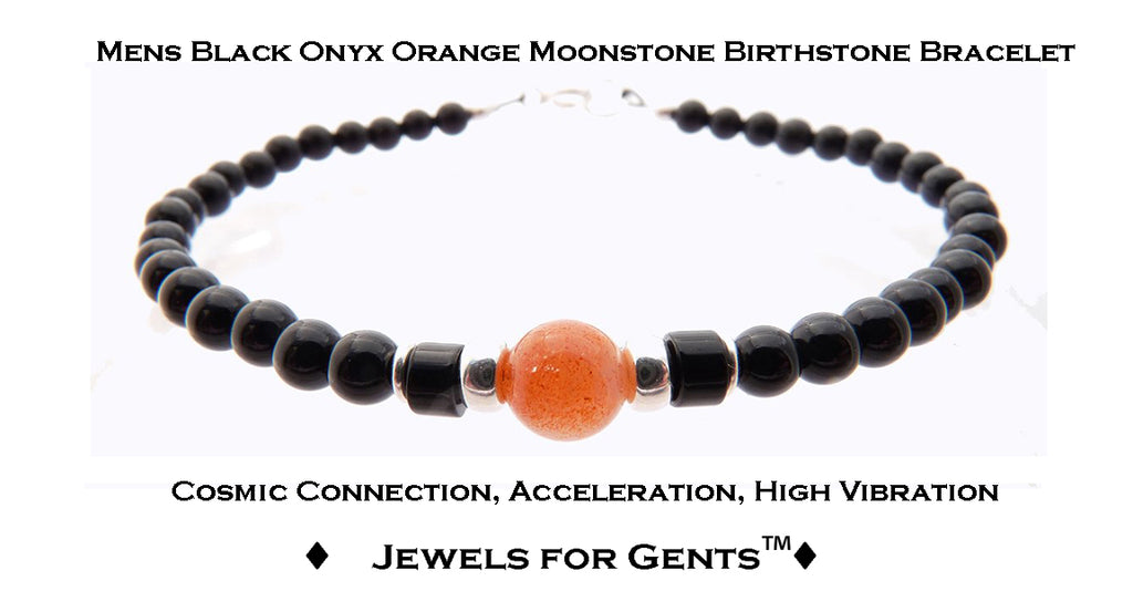 Mens Peach Moonstone Bracelet, Black Onyx June Birthstone Bracelet | Mens Zodiac Power Stones Bracelet | Jewels for Gents  - DAMALI by GemstoneGifts Handmade Jewelry