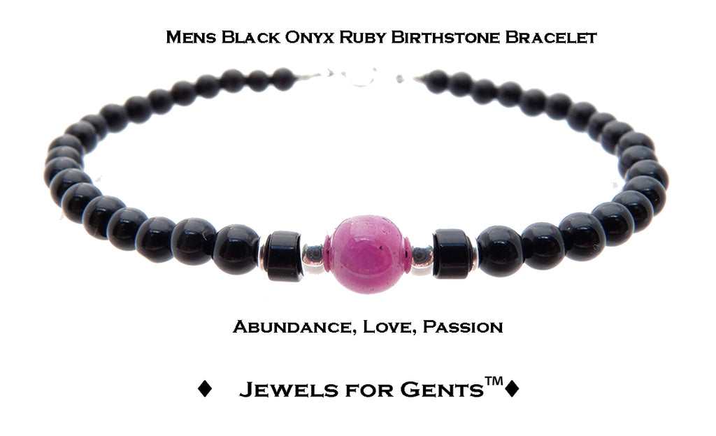 Mens Ruby Bracelet, Black Onyx July Birthstone Bracelet | Mens Zodiac Power Stones Bracelet | Jewels for Gents  - DAMALI by GemstoneGifts Handmade Jewelry