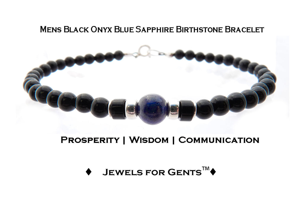 Mens Sapphire Bracelet, Black Onyx September Birthstone Bracelet | Mens Zodiac Power Stones Bracelet | Jewels for Gents  - DAMALI by GemstoneGifts Handmade Jewelry